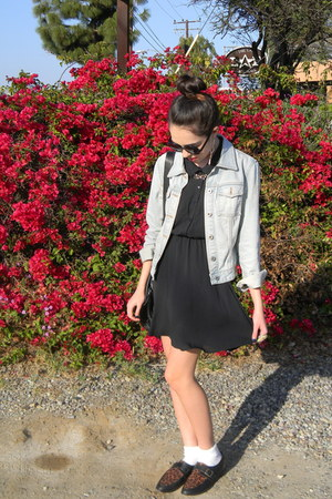Levis jacket - Forever 21 shoes - H&amp;M dress - poodle socks socks