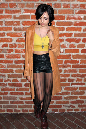 leather thrifted coat - burgundy Dr Martens boots - leather H&M shorts