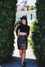 Black-hat-black-cropped-asos-top-black-vinyl-handmade-skirt