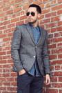 Navy-cargo-levis-jeans-heather-gray-tweed-topman-blazer