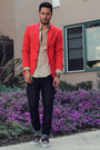 Heather-gray-boat-shoes-vans-shoes-navy-hot-topic-jeans-red-zara-blazer