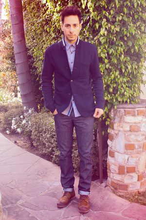 navy Levis jeans - dark brown Zara shoes - navy Club Monaco jacket