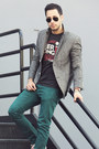 Teal-zara-jeans-gray-tweed-topman-blazer-dark-gray-local-celebrity-shirt