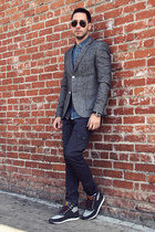 sky blue denim Topman shirt - navy cargo Levis jeans