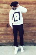 black Levis jeans - black beanie Target hat - white Lavan Lamar sweater