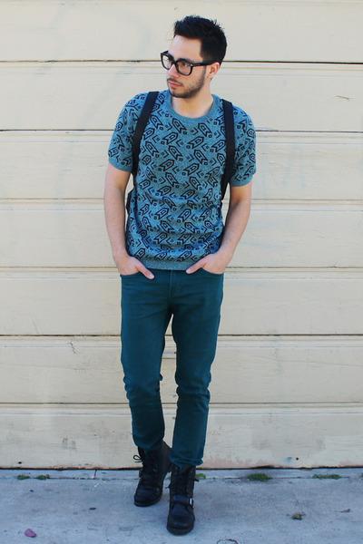 black Ralph Lauren boots - turquoise blue Topman shirt - black backpack H&M bag