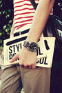 Dark-brown-studded-urban-outfitters-bag-red-striped-h-m-shirt