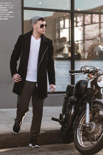 black Topman coat - heather gray beanie Old Navy hat - white v-neck Hanes shirt