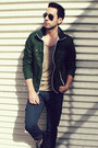 Forest-green-gap-jacket-tan-topman-shirt-black-ray-ban-sunglasses