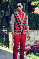 tan Mr Turk cardigan - ruby red Mr Turk shirt - Mr Turk tie
