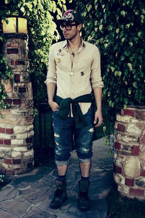 dark gray Aldo boots - navy hollister jeans - army green Gap jacket