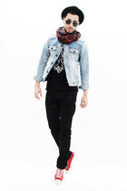 black Levis jeans - black H&M hat - light blue denim H&M jacket