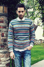 Holiday-h-m-sweater-dark-brown-brogues-zara-shoes-sky-blue-hot-topic-jeans