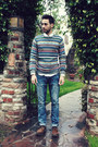 Dark-brown-brogues-zara-shoes-sky-blue-hot-topic-jeans-holiday-h-m-sweater