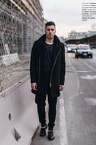 black studded oxfords Penelope and Coco shoes - black Topman coat