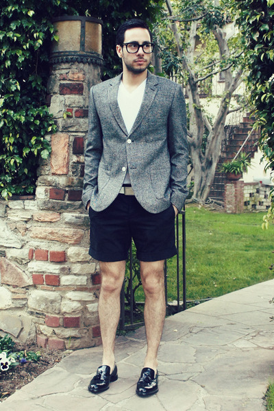 black oxfords Zara shoes - heather gray herringbone Topman blazer