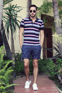 Ruby-red-striped-lacoste-shirt-navy-anchor-topman-shorts