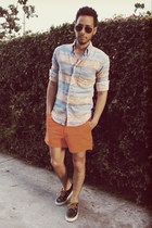 aztec print Naked &amp; Famous Denim shirt - navy boat shoes Vans shoes