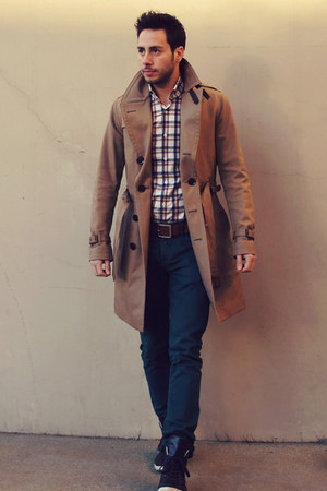 tan trench Burberry coat - teal Zara jeans - plaid Hugh & Crye shirt
