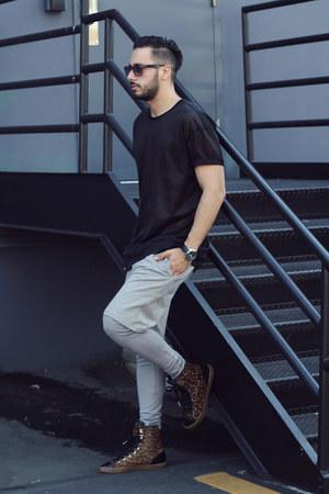 black mesh Forever21 shirt - black Lacoste sunglasses
