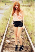 black vintage shorts - peach chiffon asos blouse - black Zara wedges