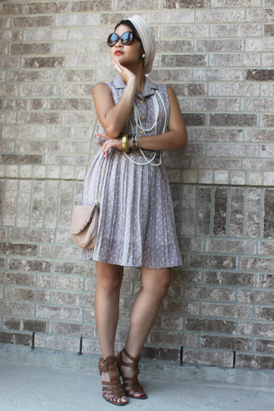 cream dress - beige pleated turban Luxury Divas hat