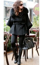 black lace up boots - black leggings - black fur collar cape