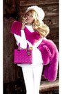 Ivory-faux-fur-hat-white-sweater-hot-pink-faux-fur-scarf-hot-pink-bag