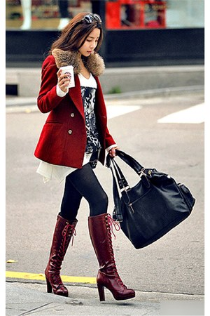 ruby red blazer - crimson boots