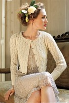 eggshell dress - cream cardigan