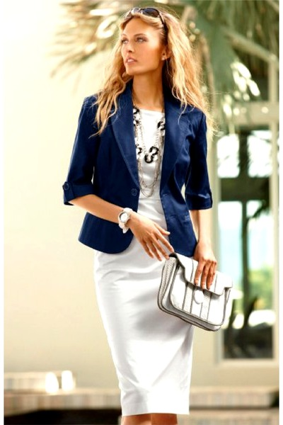 navy blazer - white dress - ivory bag - silver necklace