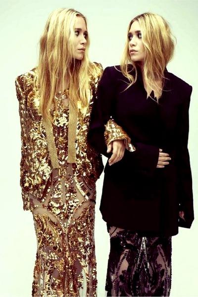 gold dress - black coat