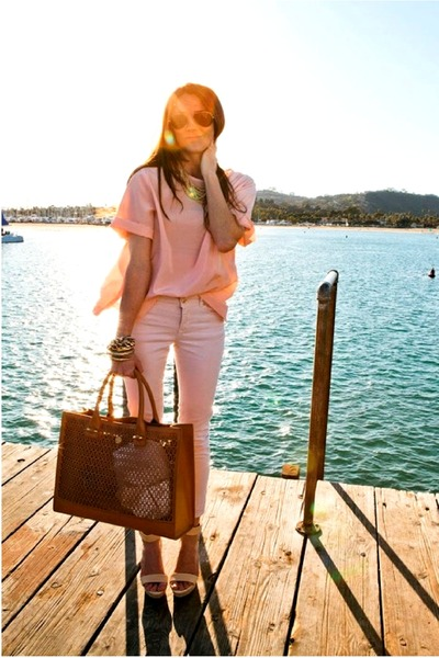 tawny bag - light pink pants - light pink top