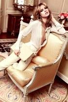 ivory shirt - white bag