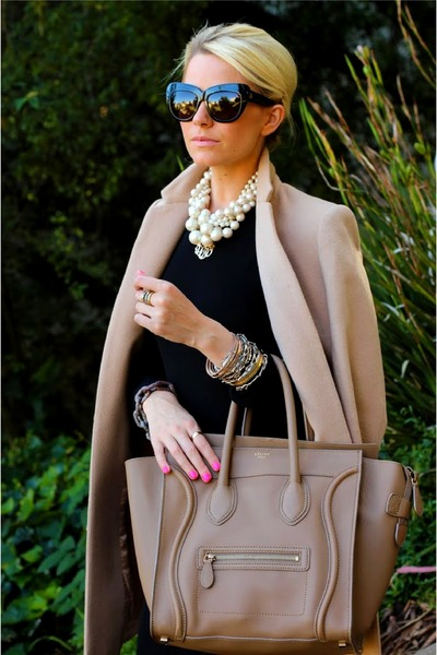 black dress - beige coat - tan bag - black sunglasses - ivory pearl necklace
