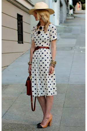 ivory polka dot dress