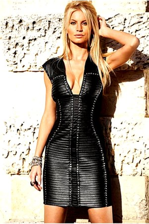 black false leather dress