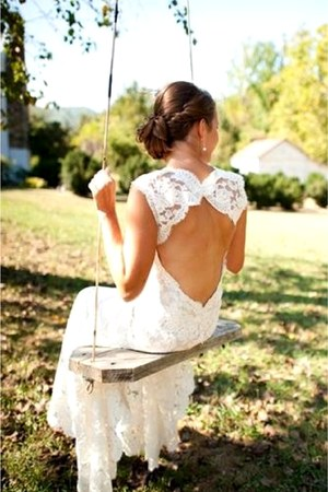 white backless lace dress
