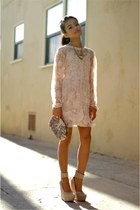 neutral lace dress - eggshell shoes