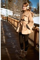 camel coat - light brown boots - black leggings - camel accessories