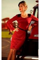 red dress - black facinator hat - black polka dot American Apparel tights