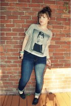 big buddha shoes - American Eagle jeans - Forever 21 shirt - vintage bracelet
