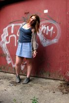 gray vintage boots - blue sws dress - gray H&M vest - winners cardigan - vintage
