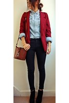 Primark shirt - brick red cotton clobber blazer