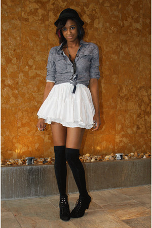 white H&amp;M skirt - blue kuyichi shirt - black Filthy Magic socks - black Filthy M
