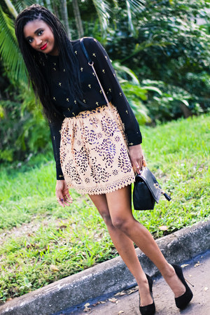 camel cutout skirt Gracia skirt - black asos shirt - black just fab bag