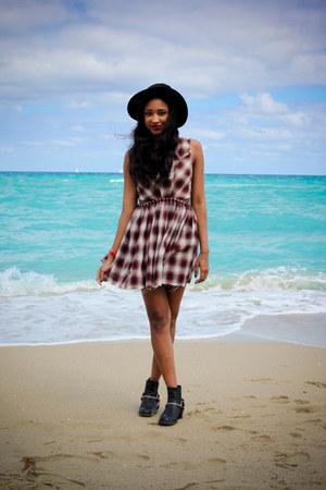 H&M boots - kickflip dress UNIF dress - felt hat H&M hat