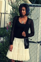 silver necklace - black rodarte x target cardigan - Forever 21 skirt