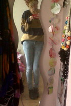 Primark jumper - boots - light wash Henry Holland jeans - Newlook hat