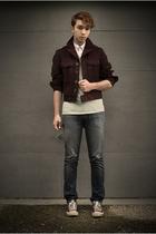 thrifted vintage jacket - Gap t-shirt - kohls shirt - Levis jeans - Converse sho